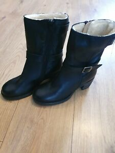 Next Black Leather Fur Lined Boots Uk Size 4