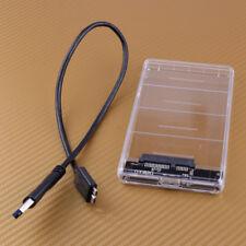 "USB 3.0 External 2.5"" SATA Hard Drive Enclosure HDD SSD Case Transparent 5Gbps"