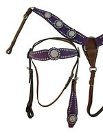 SILVER SHOW CONCHO WESTERN HEADSTALL BREAST COLLAR BARREL HORSE PLEASURE TACK