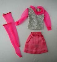 Vintage Movie Groovie #1866 Mattel 1969 Barbie Skirt Metallic Blouse Pink Nylons