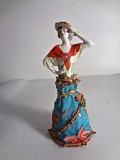 Vintage Perfume Bottle With German Porcelain Half Doll Figurine Cork  #14503