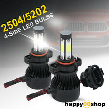 4-Side 5202 LED Headlight Bulbs 2504 H16 Kits 2800W 280000LM Power 6000K White