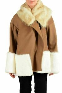 Just Cavalli Wool Real Fur Trimmed Multi-Color Women's Basic Jacket US S IT 40