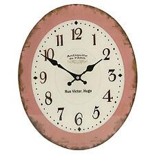 Wanduhr Nostalgie Antik Stil Look Glas Oval Küchenuhr Uhr Rot Beige Retro Look