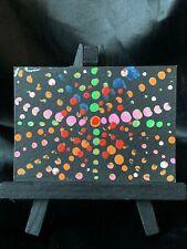Original Aceo Rainbow Star Lights Medium Acrylic on Paper Signed by Artist Ph
