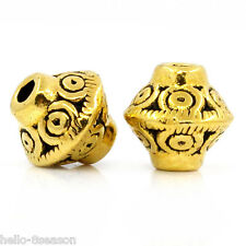 """100PCs Hello Spacer Beads HOT Bicone Gold Tone 7mmx6mm(2/8""""x2/8"""")"""