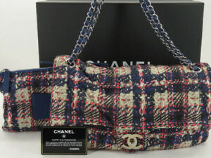 CHANEL CC TURN LOCK TWEED PRINT NYLON CHAIN SHOULDER BAG WITH POUCH EY636