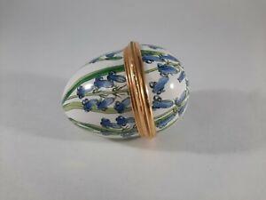 """Halcyon Days Enamels Egg Shaped Floral BLUE BELLS 2 1/4"""" Hinged Trinket Box"""