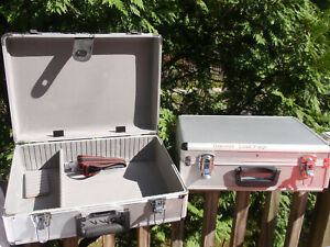2 ALUMINUM PADDED CARRYING STORAGE CASES 17 3/4 X 12 3/4 X 5 3/4 INCHES