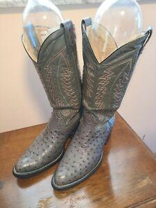 Montana Brand COWBOY BOOTS Size 10 Grey Ostrich Skin