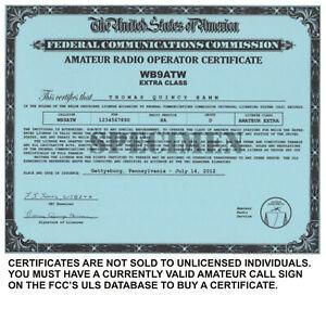 * Amateur Radio * Amateur Radio License Certificates For Licensed Amateurs Only