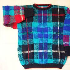 VTG Handmade Unisex Women's Multi-Color Plaid Wool Pullover BOLD Sweater M