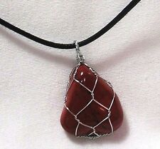 "RED JASPER GEMSTONE 23x28mm WIRE WRAPPED PENDANT ON 20"" BLACK CORD NECKLACE"