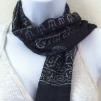 Om Yoga Harye Ram Cotton Black Prayer Scarf Shawl Nepal Fair Trade Handmade