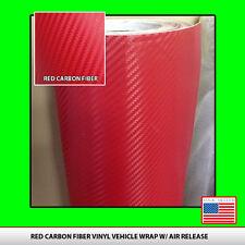 "RED CARBON FIBER VINYL 12"" x 50"" 3D Roll car wrap sheet USA seller FREE SHIP"