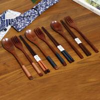 3/4Pcs Reusable Portable Travel Wooden Spoon Chopsticks Fork Tableware Cutlery Y
