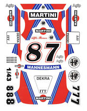 #8 - #7 Martini Alfa Romeo 156 V6 DTM 1/43rd Scale Slot Car Decals