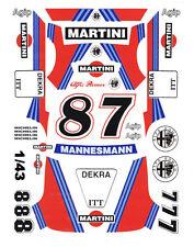 #8 - #7 Martini Alfa Romeo 156 V6 DTM 1/43rd Scale Slot Car Decals