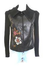 veste cuir véritable brodé & tricot ♥ V DE VINCENTE ♥ Taille 1 36 38 Femme