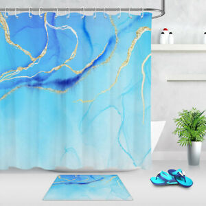 Gold and Blue Crystal Marble Stone Print Waterproof Fabric Shower Curtain Set LB