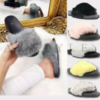LADIES WOMENS FLAT STUDS FAUX FUR FLUFFY SLIDERS SLIPPERS SLIP ON SANDALS SHOES