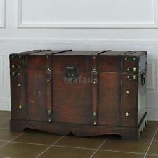 Large Wooden Treasure Storage Trunk Blanket Steamer Chest Vintage Hot Q4J1