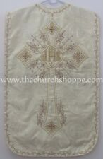 Metallic Gold  Roman Chasuble Fiddleback Vestment & mass set IHS embroidery NEW