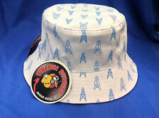 Baby Blue Oilers Printed White Full-Brim Bucket Hat ONE SIZE Piranha Records