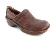 BORN Size 9 / 40.5 PEGGY Brown Tooled Design Clogs Shoes