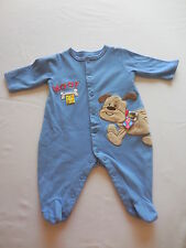 NWOT Taggies Blue Woof Puppy Dog Footed Romper Sleeper, 0-3 mos.
