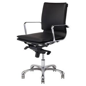 "40.8"" Tall Adjustable Full Swivel Office Chair Leather Chrome Aluminium Base"