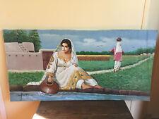 tableau ancien huile sur toile .ASHF?O (XXe-s) orientalisme femmes oued oasis