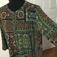 Nygard Tunic Top Blouse Paisley Pattern Women Size Large 3/4 Sleeve Pullover