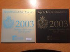 San Marino BU set 2003, 1 ct t/m 2 euro + 5 euro zilver