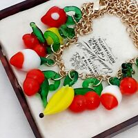 Vintage Style - Fresh Fruit Salad Summer Goldtone Necklace Banana Cherry Pear