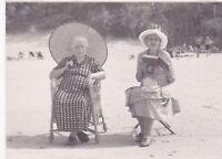 1950s Grannies relax women beach parasol book hats fashion Russian Soviet photo