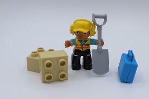 LEGO Duplo - Gleisbauarbeiter - Bauarbeiter mit Schaufel - Figur - aus 10872