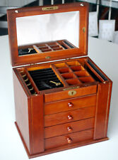 Wooden Large Jewellery Display Box Necklaces Storage Organizer B60 Brown 5k