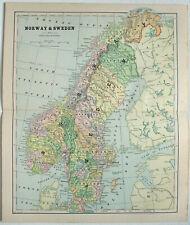 Original 1887 Map of Norway & Sweden by Phillips & Hunt. Antique Original