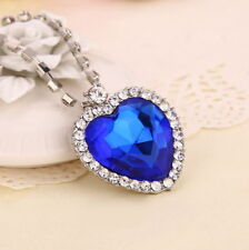Titanic Heart Of The Ocean Sapphire Blue CZ Crystal Necklace Pendant New USA Shi