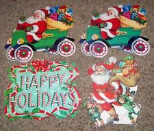 4pc Lot Cardboard Merry Christmas Poster Decoration Santa Claus in Antique Car