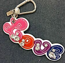 NEW Coach Multi-color Patent Leather Love Keychain Keyfob