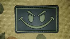 NEW EVIL SMILEY FACE DARK GREEN PVC TACTICAL MORALE AIRSOFT PATCH AUSTRALIA AUS