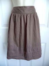 """Ann Taylor LOFT Skirt 6 Brown Cotton Lightweight Lined Pintucked Hem 19"""" Length"""