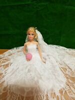 New White Lace Wedding Dress And Veil For Your Barbie