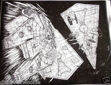 Star Wars Millennium Falcon Star Destroyer Empire Strikes Back Art print poster