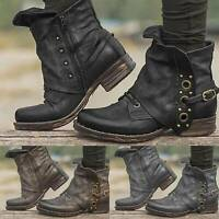 Women's Vintage Buckle Stud Biker Slouch Ankle Boots Low Chunky Heel Shoes Size