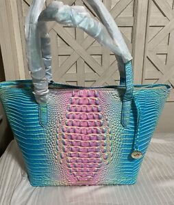 BRAHMIN BROOKE COTTON CANDY 🍬 LEATHER TOTE LARG HANDBAG w POUCH *EXCLUSIVE*