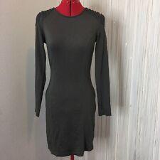 H&M olive Green Long Sleeve Epaulets Mini Military Inspired Dress Women's 4 Or S