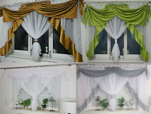 Amazing Voile Net Curtains Ready Made with Swags Novelty Living Dining Room